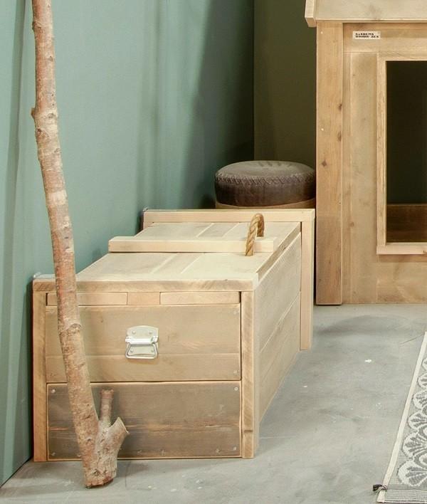Werkplek woonkamer steigerhout - Woonkamer met keuken geopend ...