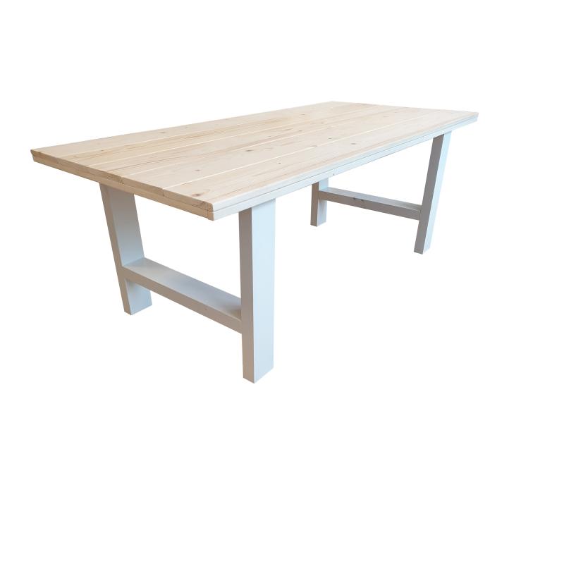 Industriële tafel roasted wood U-poot