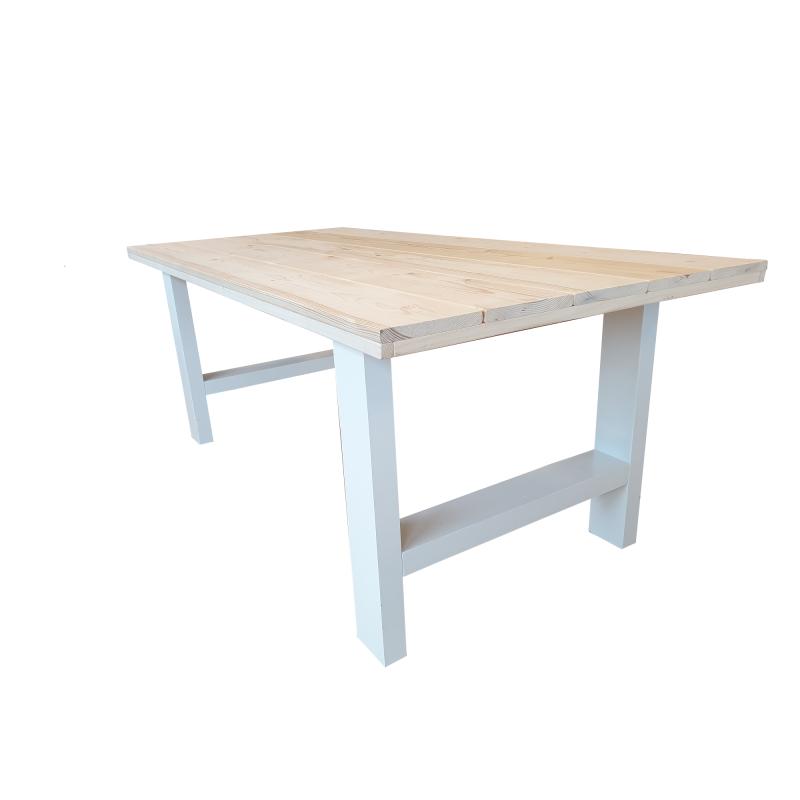 Industriële tafel roasted wood vierkante poot